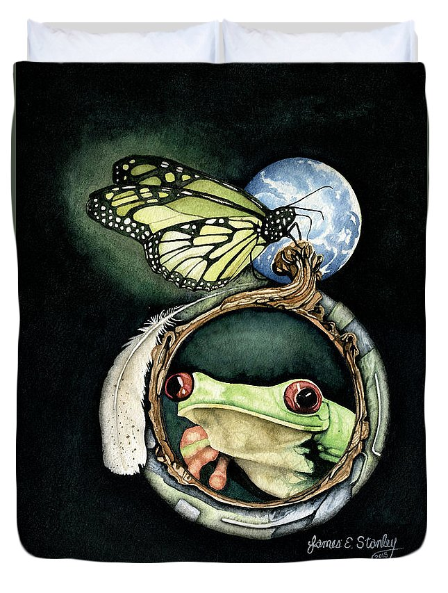 Watercolor Duvet Cover featuring the painting Butterfly And Frog by James Stanley