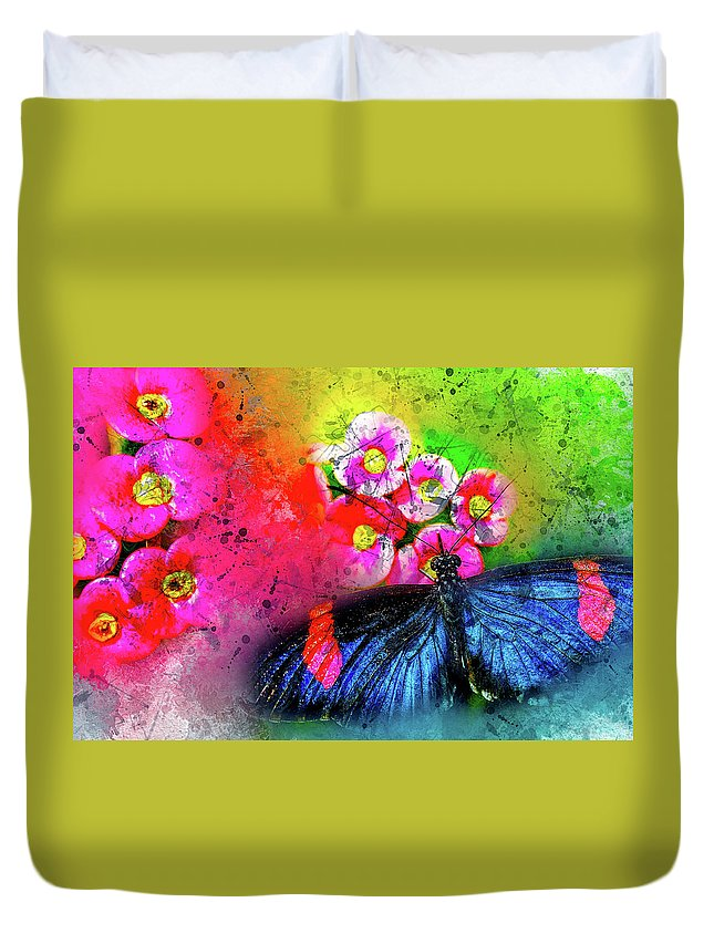 Abstract Duvet Cover featuring the photograph Butterfly Color Explosion by Kay Brewer