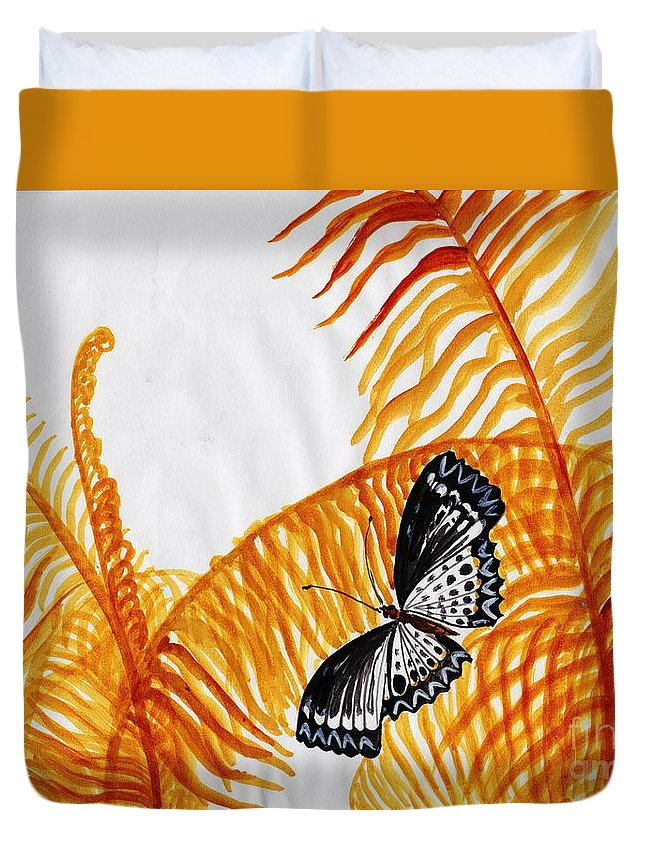 Butterfly Duvet Cover featuring the painting Butterfly Fern by Sweeping Girl