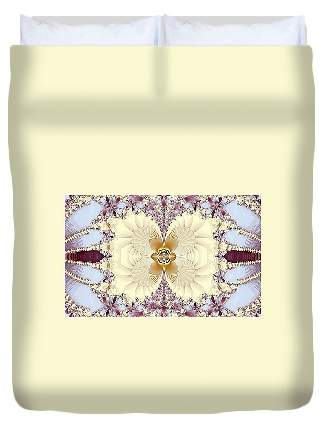 Digital Duvet Cover featuring the digital art Butterfly Flower by Peggi Wolfe