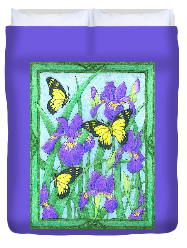 Nature Duvet Cover featuring the drawing Butterfly Idyll-irises by Alison Stein