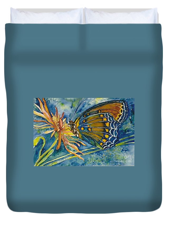 Butterflies Duvet Cover featuring the painting Butterfly In Ca by Norma Boeckler