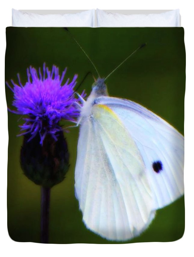 White Duvet Cover featuring the photograph Butterfly In White by John Feiser