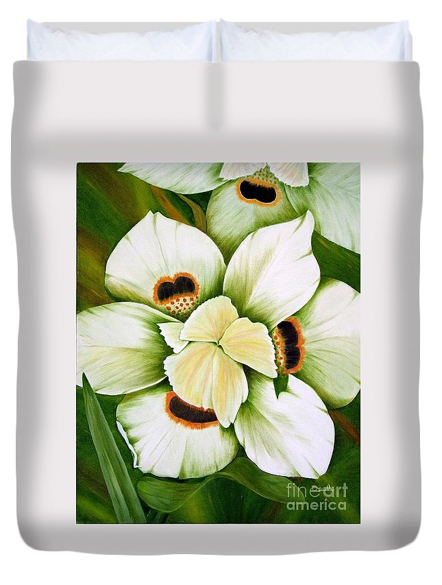 Iris Duvet Cover featuring the painting African Butterfly Iris by Mary Deal