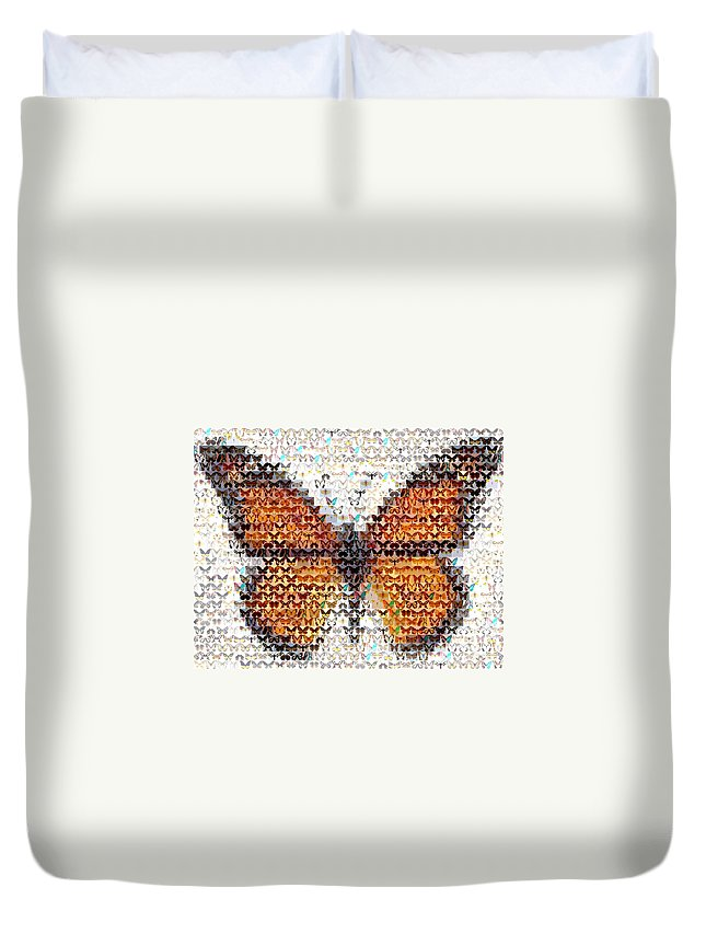 Insect Duvet Cover featuring the mixed media Butterfly Mosaic by Paul Van Scott