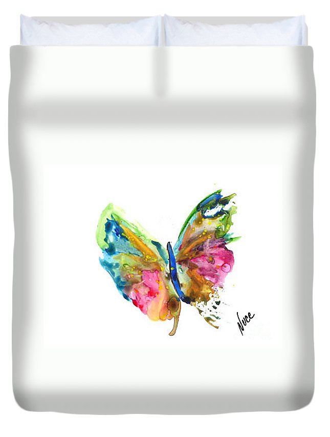 Butterfly Duvet Cover featuring the painting Butterfly by Nancy Nuce