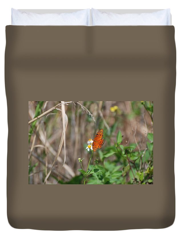 Nature Duvet Cover featuring the photograph Butterfly On Flower by Rob Hans