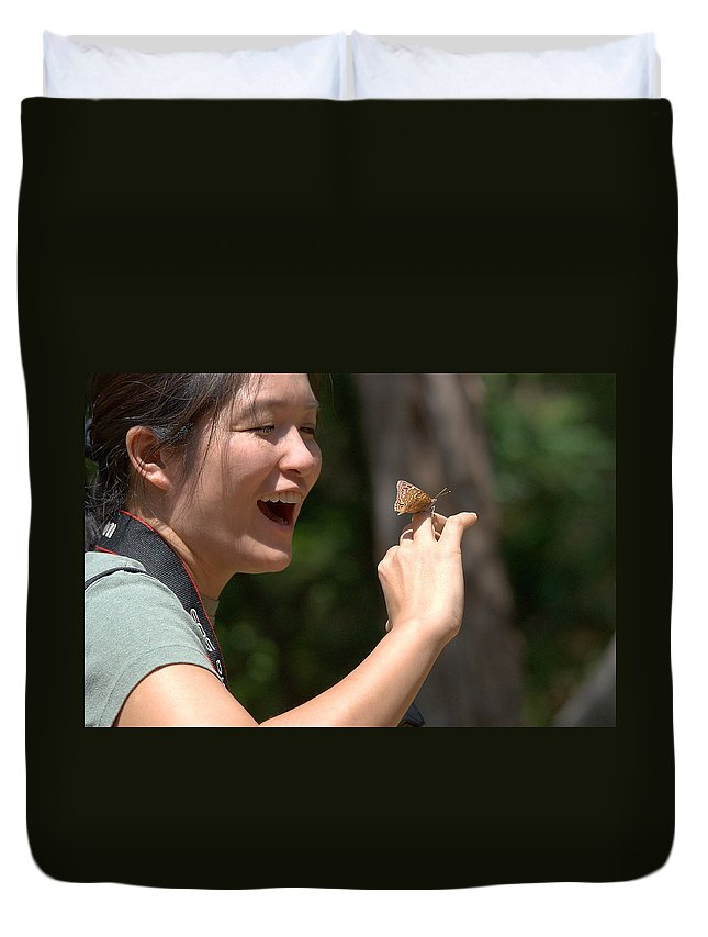 Roy Williams Duvet Cover featuring the photograph Butterfly On My Hand 2 by Roy Williams