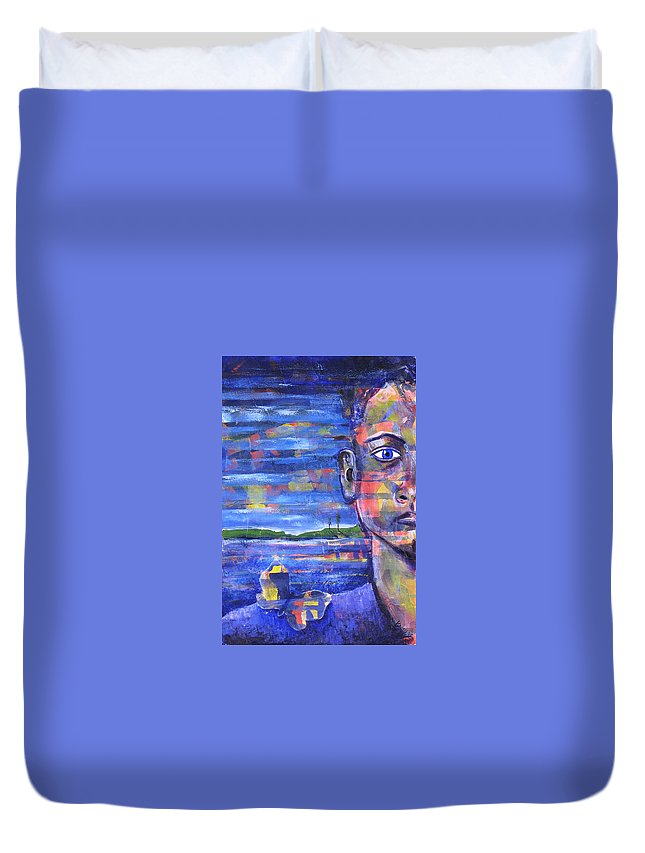 Face Duvet Cover featuring the painting Butterfly On My Shoulder by Rollin Kocsis