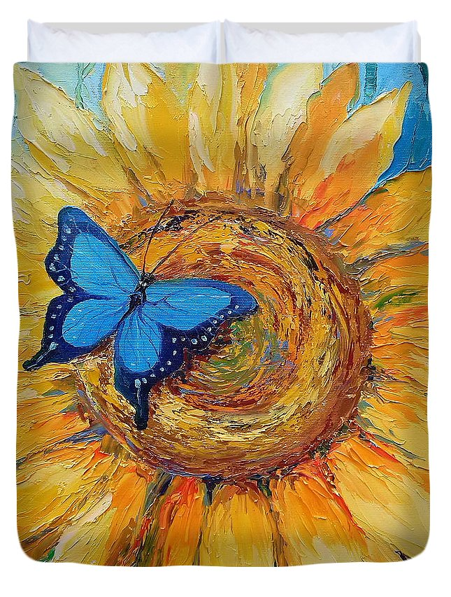 Butterfly On Sunflower Duvet Cover featuring the painting Butterfly On Sunflower by Olha Darchuk