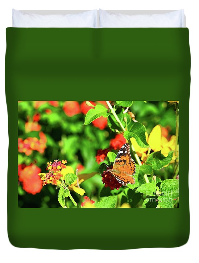 Butterfly Duvet Cover featuring the photograph Butterfly On The Red Flower 2 by Igor Aleynikov