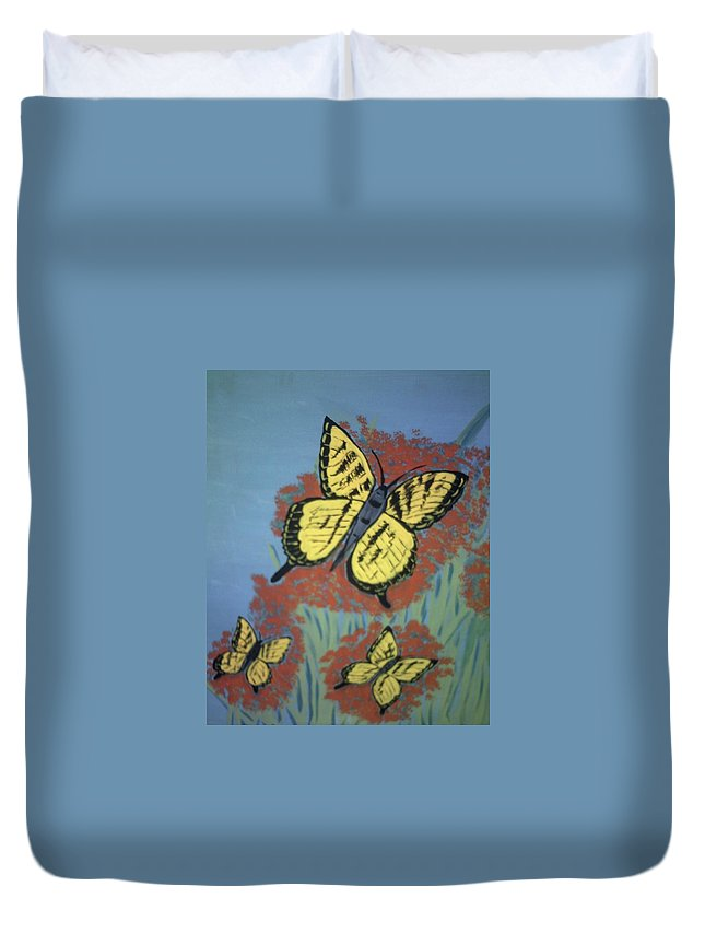 Butterflies Duvet Cover featuring the painting Butterfly Picnic by Gracie Shellito