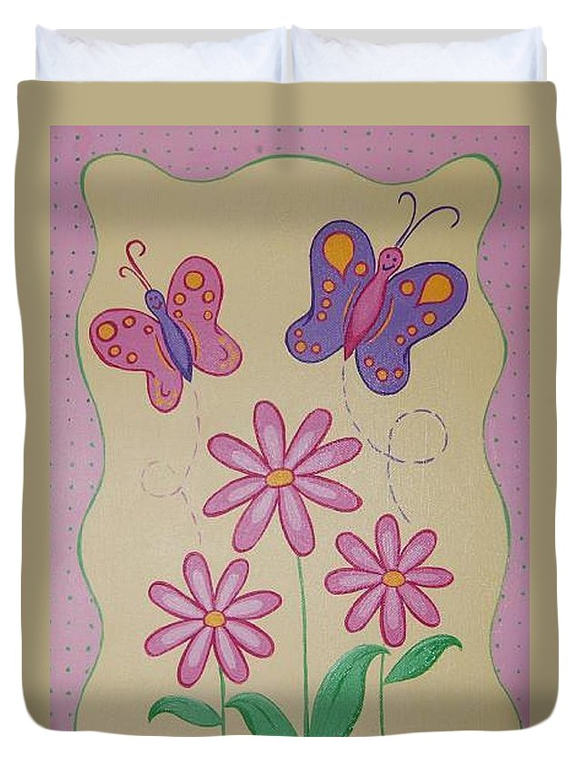 Butterflu Duvet Cover featuring the painting Butterfly Smiles by Valerie Carpenter