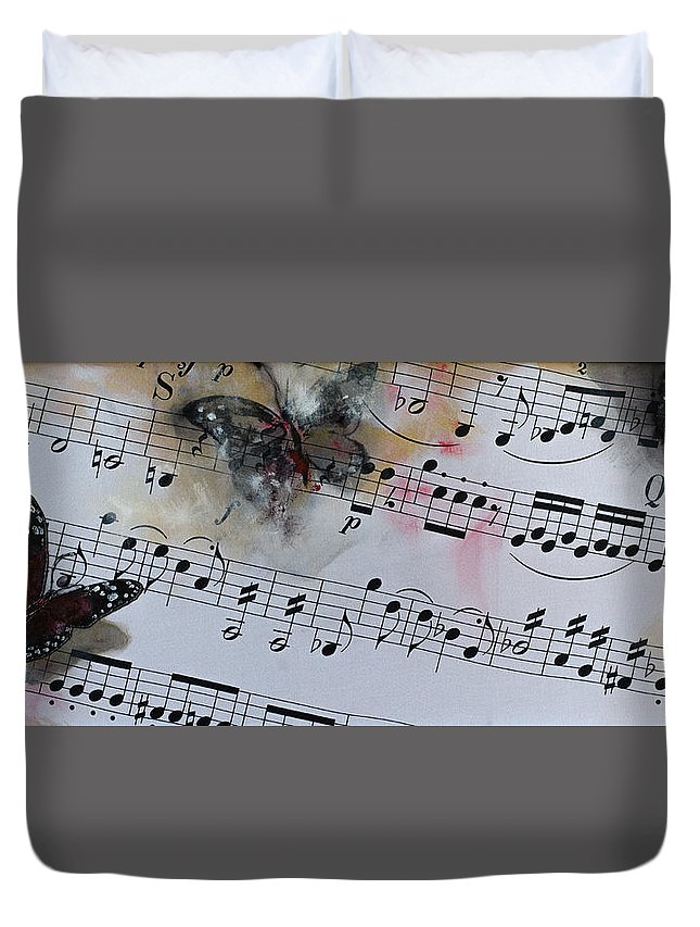 Music Duvet Cover featuring the painting Butterfly Symphony by Dorina Costras