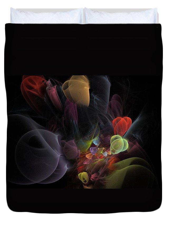 Fantasy Duvet Cover featuring the digital art Butterfly Tea - Fractal Art by NirvanaBlues