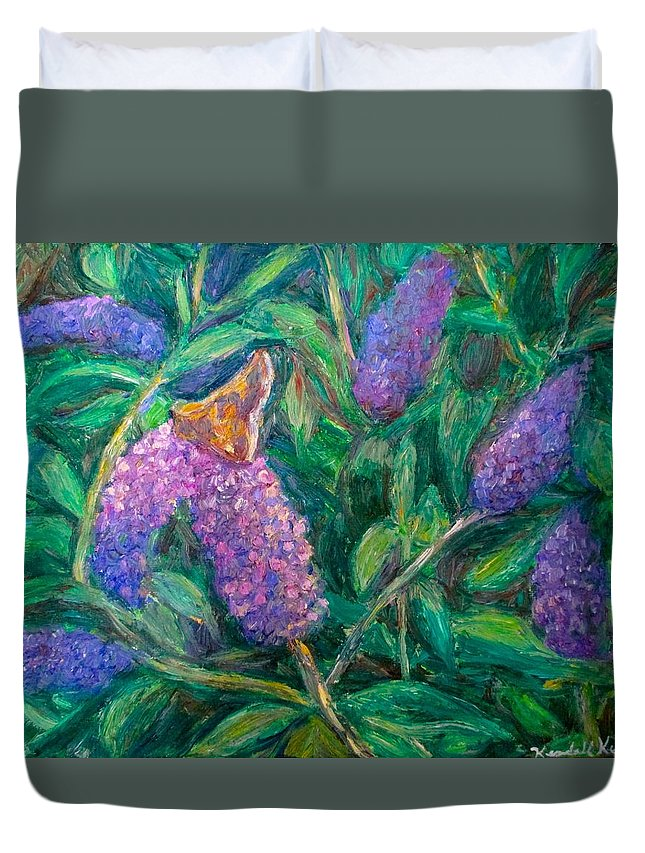 Butterfly Duvet Cover featuring the painting Butterfly View by Kendall Kessler