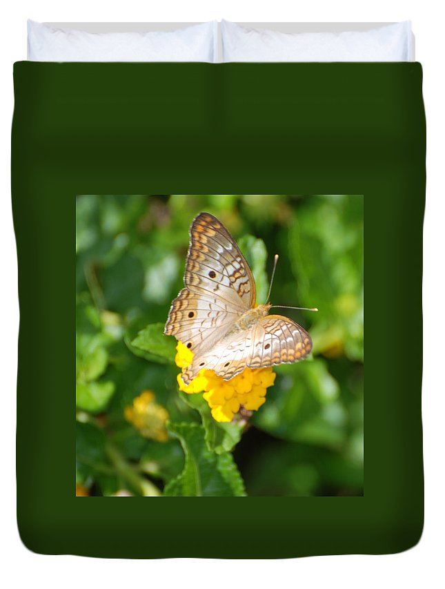 Butterfly Duvet Cover featuring the photograph Butterflywith Dots by Rob Hans
