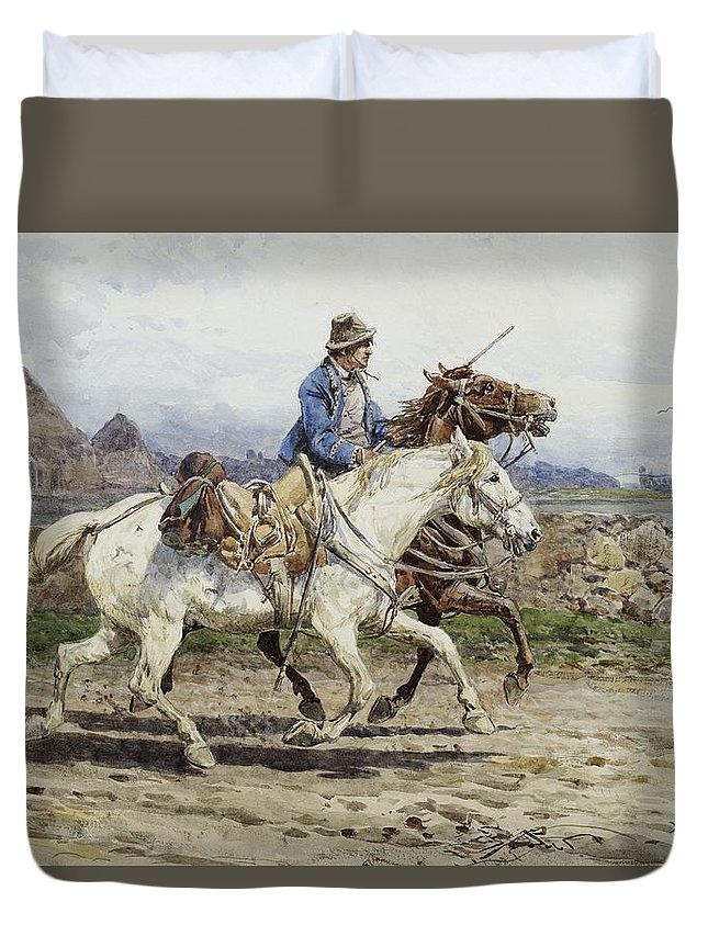 Buttero Riding In The Roman Campagna Duvet Cover featuring the painting Buttero Riding In The Roman Campagna by Celestial Images