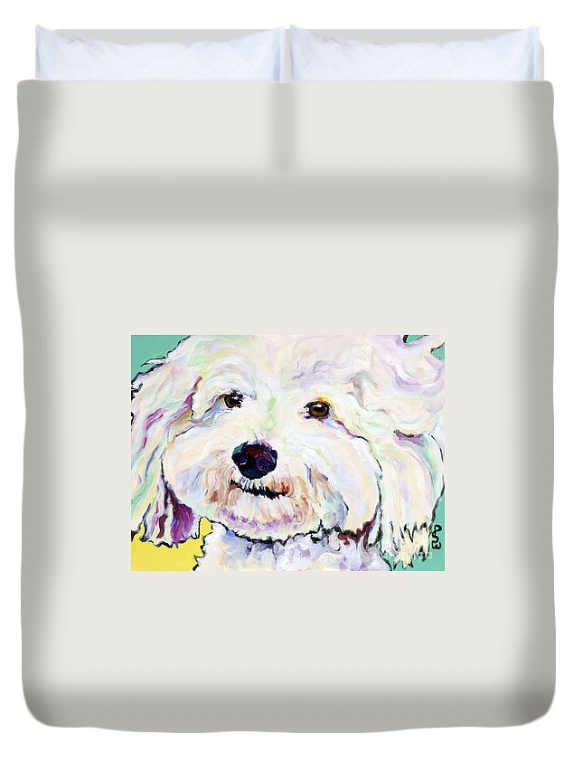 Bischon Duvet Cover featuring the painting Buttons  by Pat Saunders-White