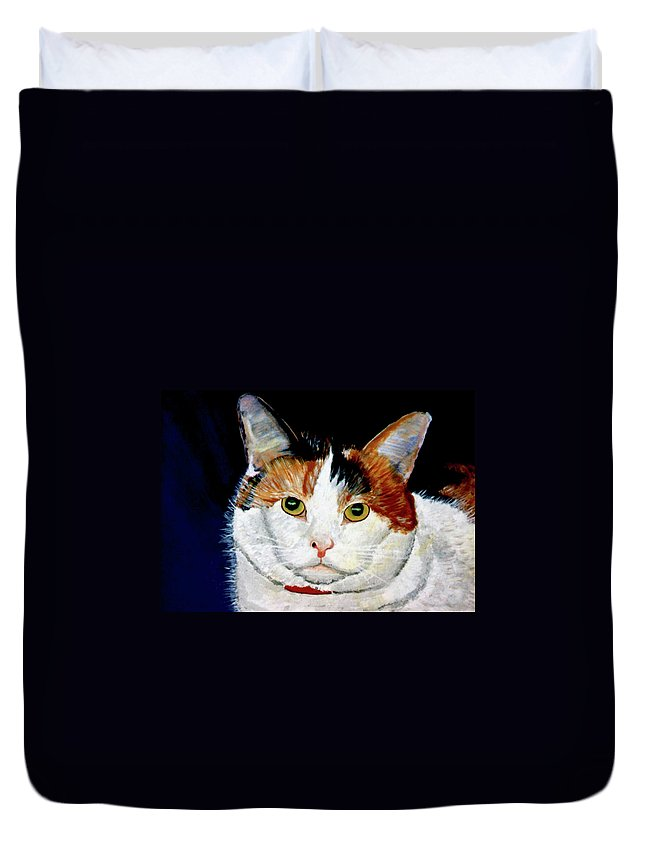 Cat Duvet Cover featuring the painting Buttons by Stan Hamilton