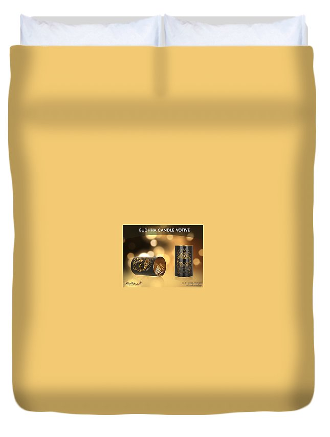 Home Decor Duvet Cover featuring the photograph Buy Attractive Buddha Candle Votive From Rustik Craft by Sangeeta Sharma