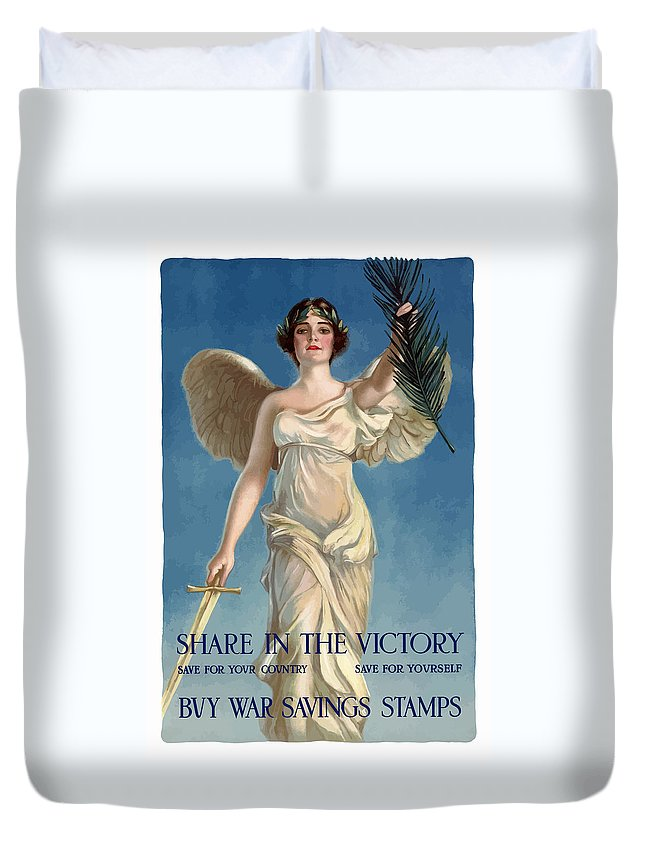Lady Liberty Duvet Cover featuring the painting Buy War Savings Stamps by War Is Hell Store