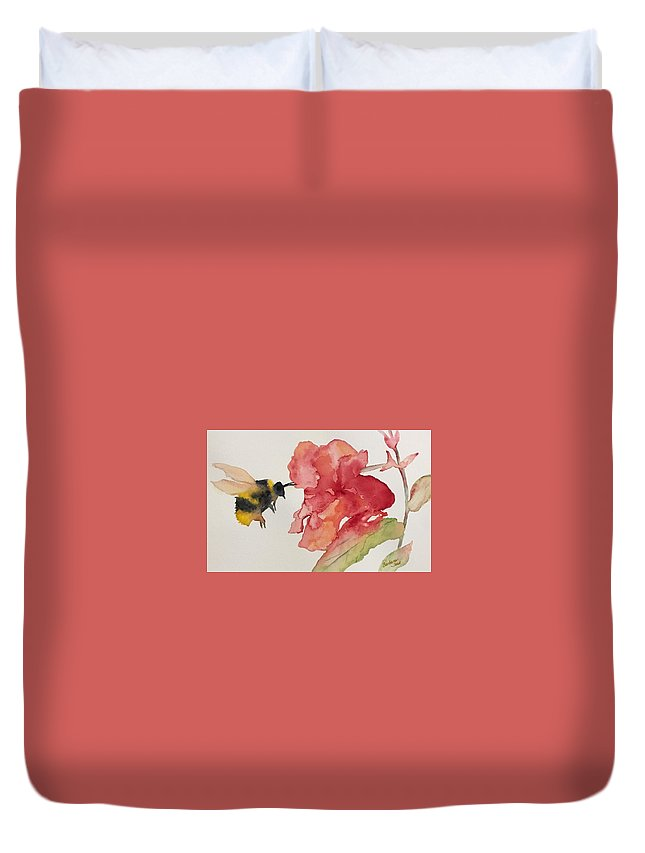 Bee Duvet Cover featuring the painting Buzz Bee by Barbara Jean