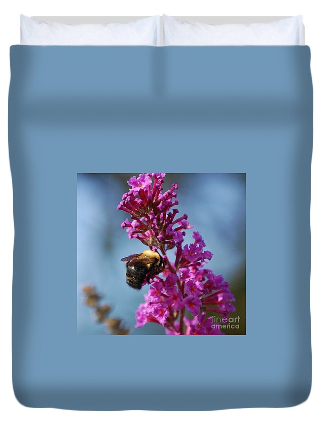 Bee Duvet Cover featuring the photograph Buzzed by Debbi Granruth
