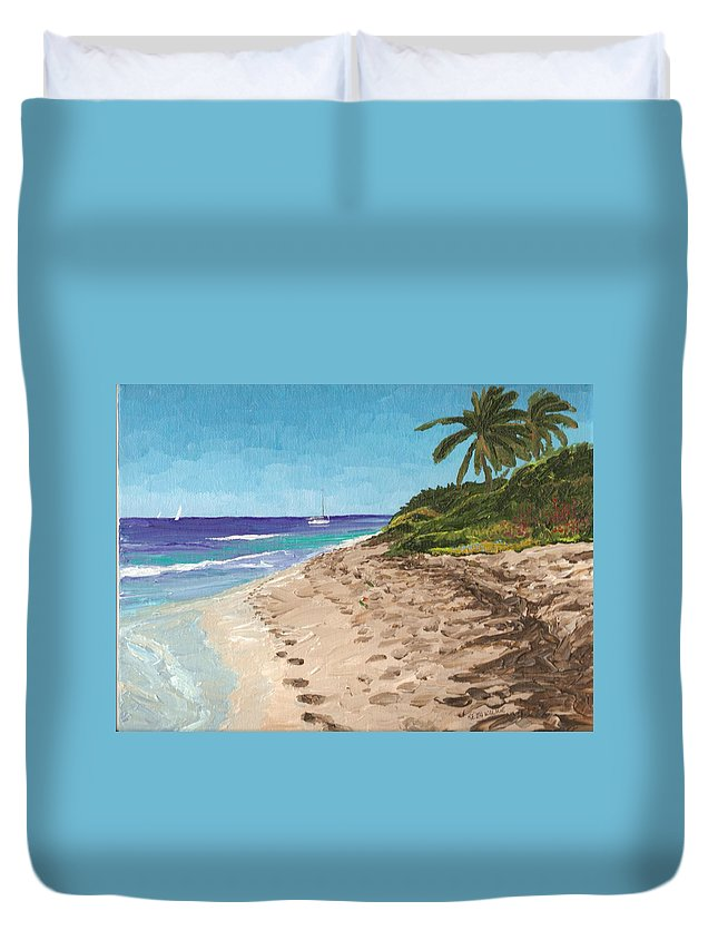 Sailing Duvet Cover featuring the painting Bvi Mooring by Keith Wilkie