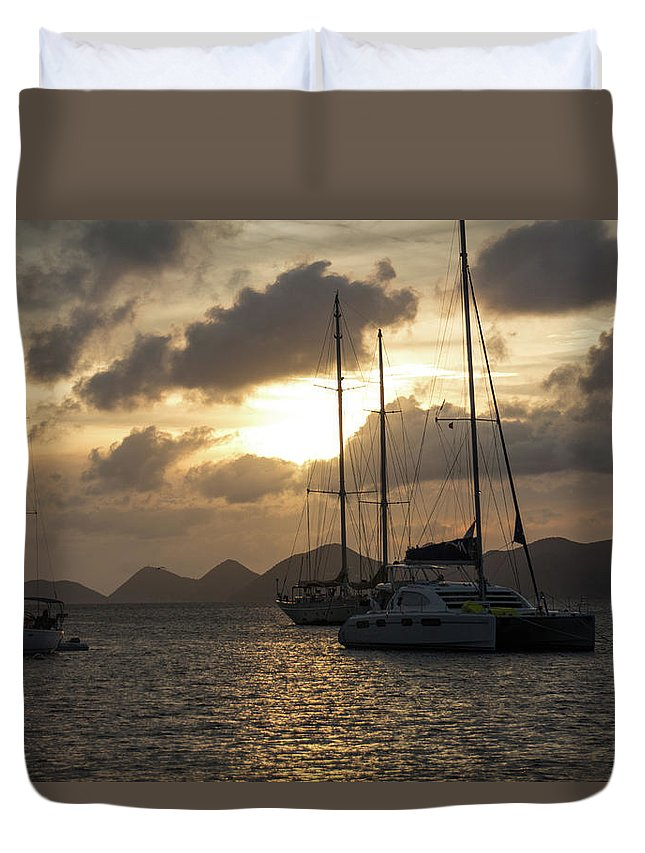 Sailing Duvet Cover featuring the photograph Bvi Sailboats by Mary Swann