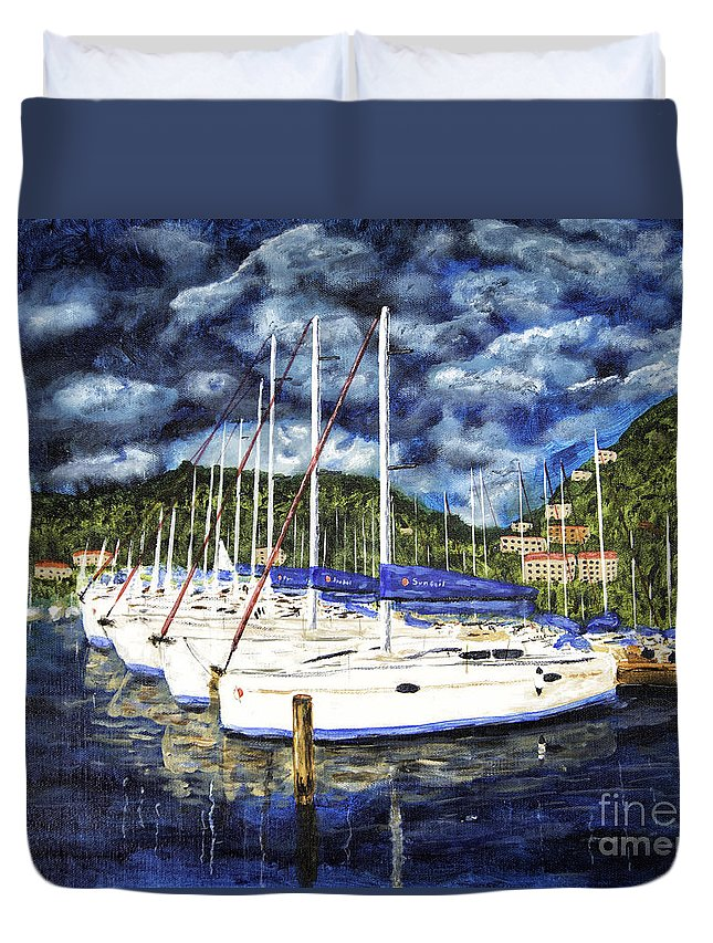 Acrylic Paintings Duvet Cover featuring the painting Bvi Sailboats Painting by Timothy Hacker