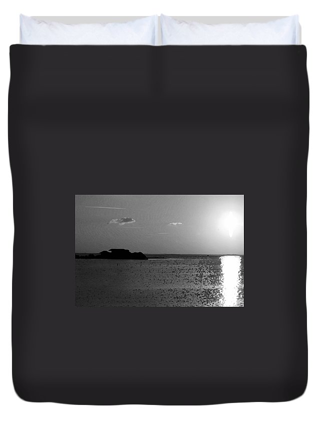 Pelican Duvet Cover featuring the photograph Bw Sunset House by Michael Thomas