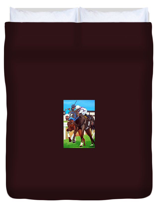 Horse Racing Duvet Cover featuring the painting By A Nose by Michael Lee