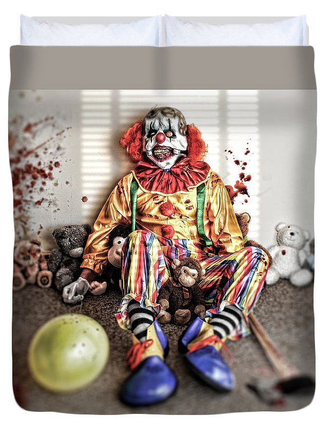 Duvet Cover featuring the digital art By Blood A King In Heart A Clown by Clinton Lofthouse