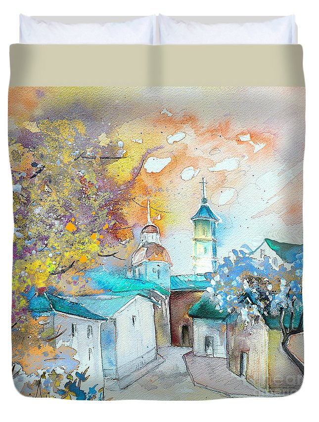 Watercolour Travel Painting Of A Village By Teruel In Spain Duvet Cover featuring the painting By Teruel Spain 03 by Miki De Goodaboom