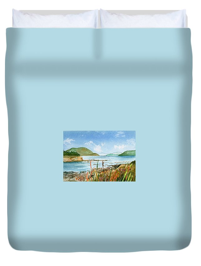 Landscape Duvet Cover featuring the painting By The Bay by Brenda Owen