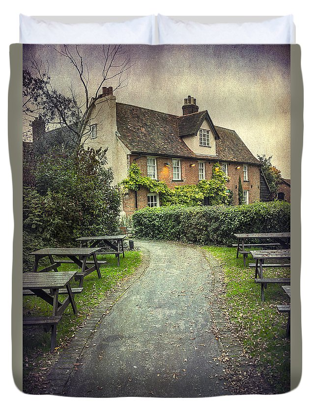 Bench Duvet Cover featuring the photograph By The End Of A Road by Svetlana Sewell