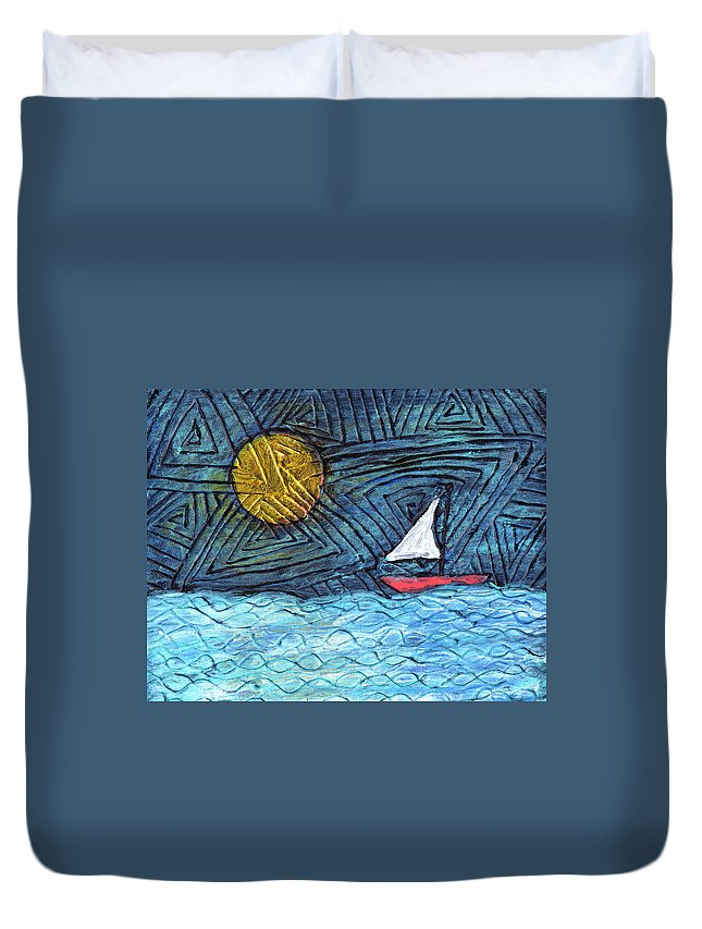 Sail Boat Duvet Cover featuring the painting By The Light Of The Moon by Wayne Potrafka