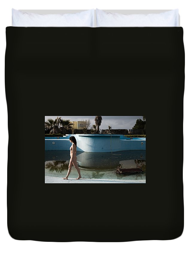 Nudes Duvet Cover featuring the photograph By The Old Pool by Olivier De Rycke