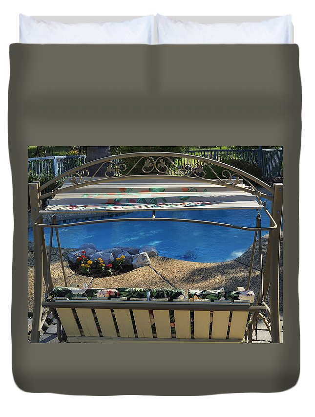 Landscape Duvet Cover featuring the photograph By The Pool by Richard Thomas
