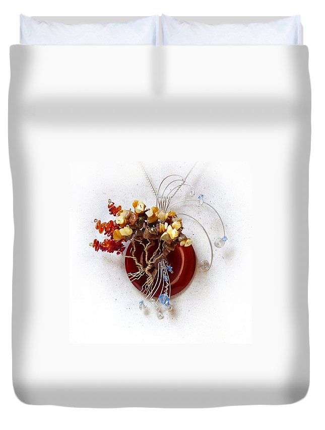 Sterling Silver Duvet Cover featuring the sculpture By The Rapids by Rhonda Chase