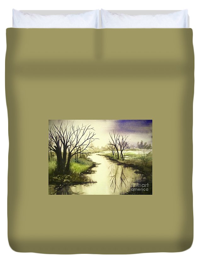 Skies Duvet Cover featuring the painting By The Riverside by Chapi Dee
