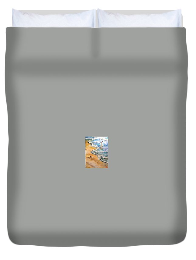 Ocean Duvet Cover featuring the painting By The Sea by Myrna Brooks Bercovitch