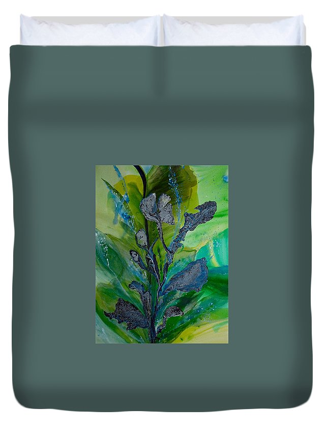 Blue Duvet Cover featuring the painting By The Sea by Nipper Suntrapak