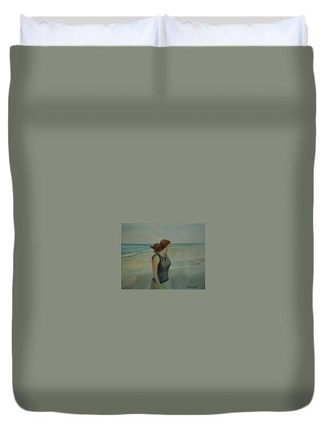 Ocean Duvet Cover featuring the painting By The Sea by Sheila Mashaw