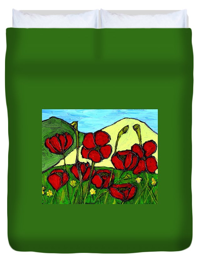 Flowers Duvet Cover featuring the photograph By The Side Of The Road by Wayne Potrafka