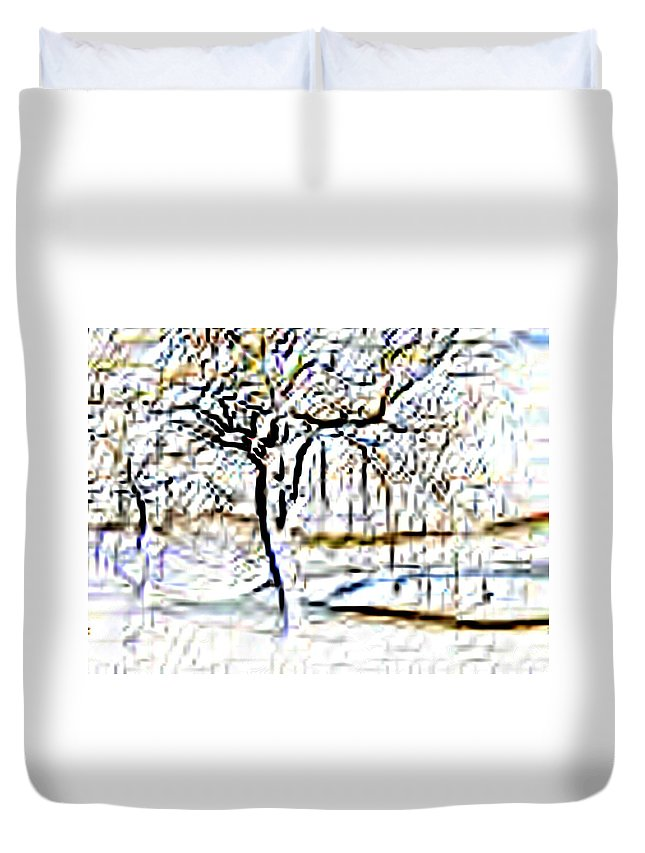 Tree Duvet Cover featuring the photograph By Waters Edge by Tim Allen