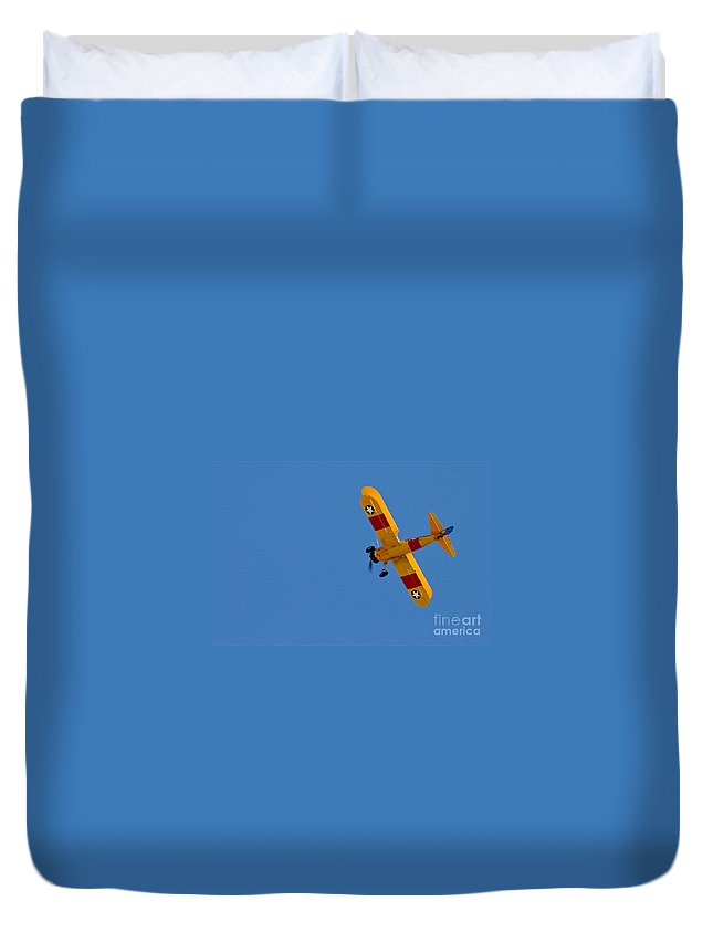 Aircraft Duvet Cover featuring the photograph Bye Bye Biplane by Rick Monyahan