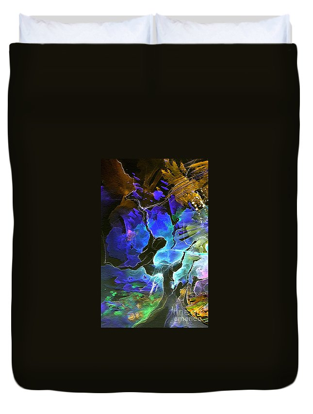 Miki Duvet Cover featuring the painting Bye by Miki De Goodaboom