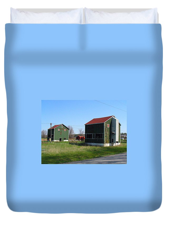 Tobacco Kilns Duvet Cover featuring the photograph Bygone Era by Peggy King